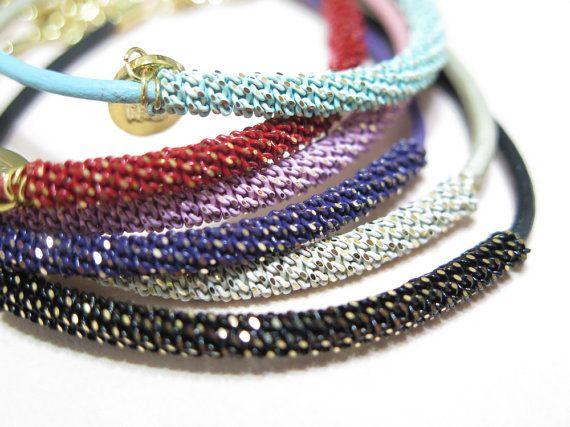 Thin Leather bracelet//color chain bracelet