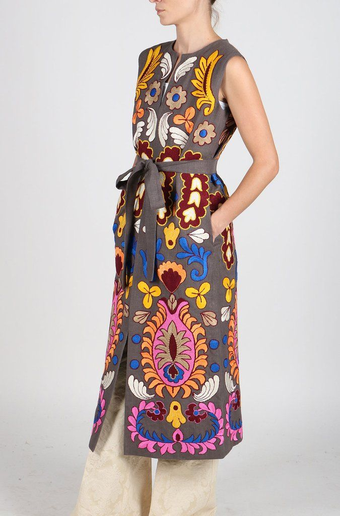 Fanm Mon Vyshyvanka MAROK Linen VEST HAND Embroidered MULTI COLOR Floral Vest