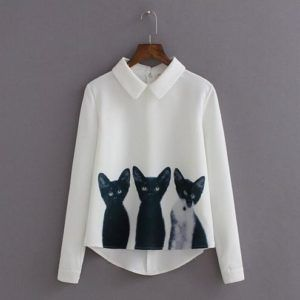 One cat isn't enough? You get three cutie cats on your blouse. #Cats #Cutie