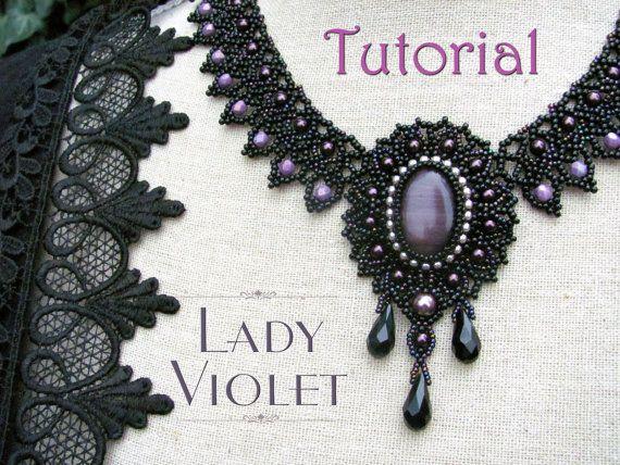 Tutorial for beadwoven necklace 'Lady Violet' por TrinketsBeadwork