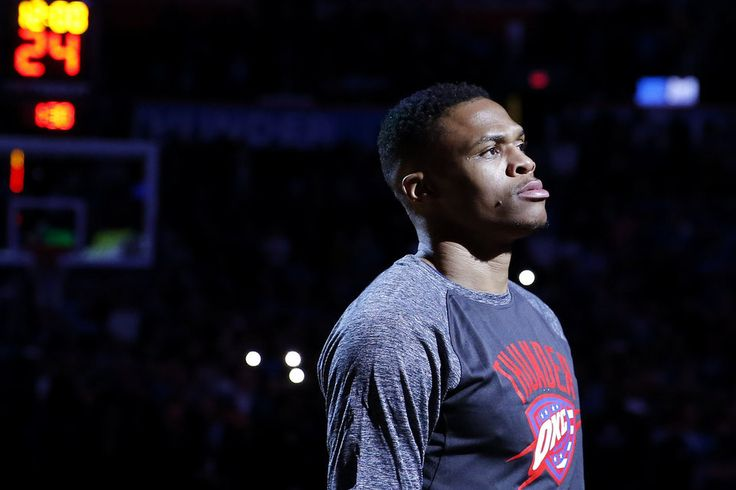 Oklahoma City\'s Russell Westbrook (0) stands during introductions before an NBA basketball game between the Oklahoma City Thunder and the Los Angeles Clippers at Chesapeake Energy Arena in Oklahoma City, Friday, Nov. 10, 2017. Photo by Bryan Terry, The Oklahoman