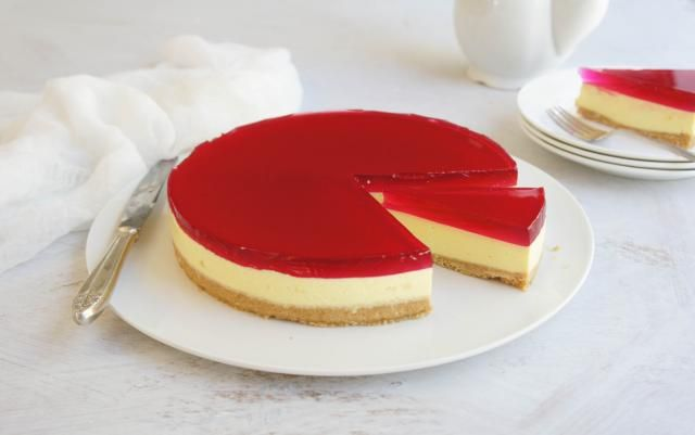 A 3 layer cheesecake - crumb base, cheese and jelly topping.