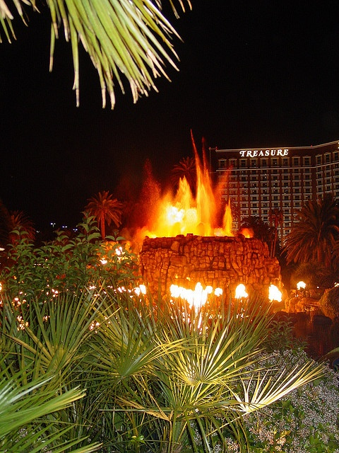 The Mirage Hotel volcano with a view of Treasure Island Hotel