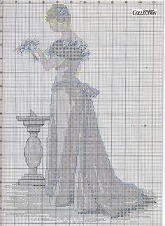 0 point de croix femme vintage en bleu - cross stitch lady in blue 2