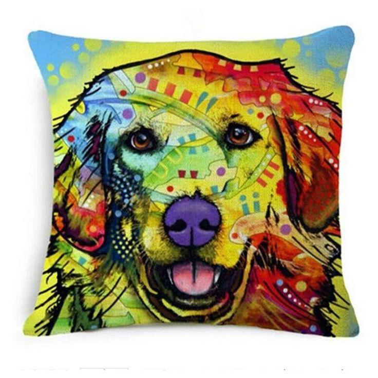 Painted Bulldog Pillow Cover