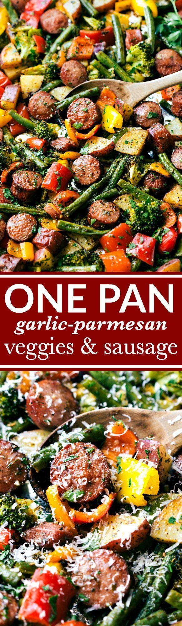 Healthy garlic parmesan roasted veggies with sausage and herbs all made and cooked on one pan. 10 minutes prep, easy clean-up! GREAT MEAL PREP IDEA. Recipe via http://chelseasmessyapron.com