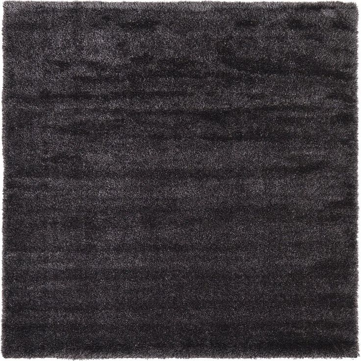 Black 8' x 8' Luxe Solid Shag Square Rug | Area Rugs | eSaleRugs