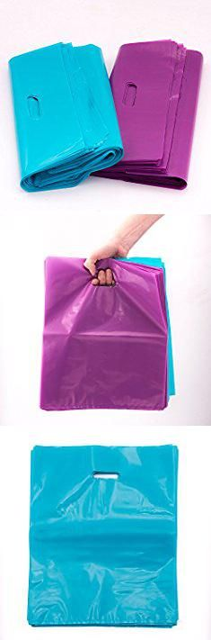 Plastic Shopping Bags Wholesale. 100 Merchandise Bags, EXTRA THICK 2 Mil shopping bags, 12x15, Glossy Plastic Teal Blue / Purple - Recyclable with Die Cut Handles, Foldable, Reusable, Wholesale - Ideal for T-shirts, Retail, Grocery.  #plastic #shopping #bags #wholesale #plasticshopping #shoppingbags #bagswholesale