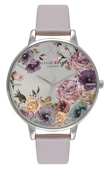 Free shipping and returns on Olivia Burton 'Parlour' Leather Strap Watch, 38mm at http://Nordstrom.com. Ethereal blossoms sprawl over the sunray dial of a charming round watch accented with a highly polished case and a lightly textured leather strap.