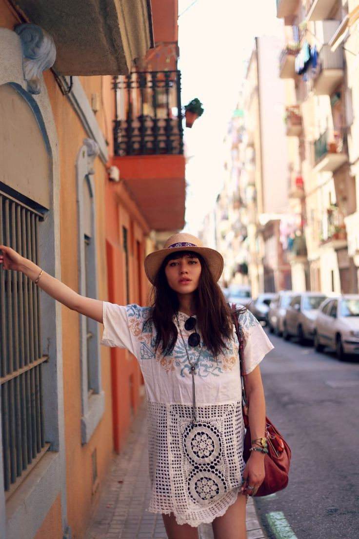The beautiful NY model and blogger Natalie Suarez hits the streets of Barcelona in her favorite Grandmother's Buttons necklace.  Her blog:  Natalie Off Duty