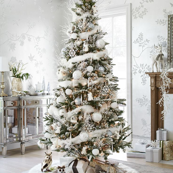 An indoor winter wonderland awaits you. Christmas tree branches sparkle with a touch of frost. A reindeer tree topper provides a personal touch. Frosty ornaments shimmer like icicles, while a faux fur tree skirt makes a cold day feel warm.