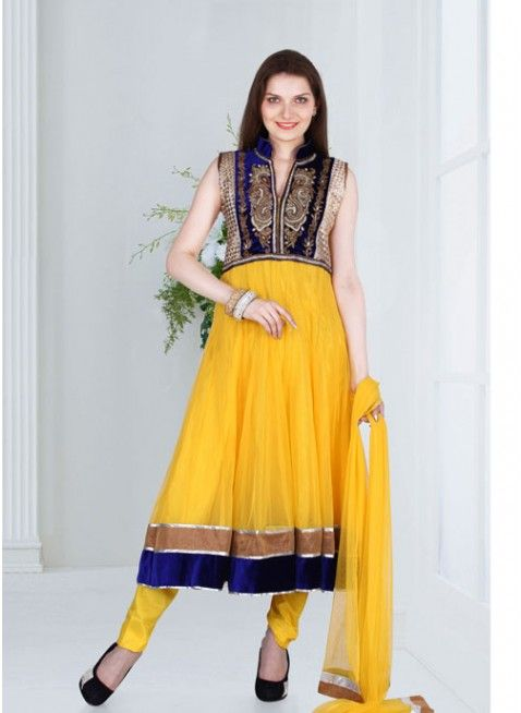 Yellow and Blue #anarkali_suits with resham thread work