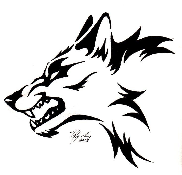Snarling wolf head tattoo by captainmorwen on deviantart
