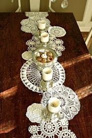 doily table runner, doilies, DIY, Easter idea, Christmas decor, Thanksgiving table setting