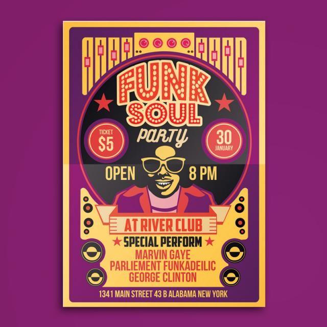 Funk Soul Party Flyer Poster Edm Music Flyer Poster Marca De Agua