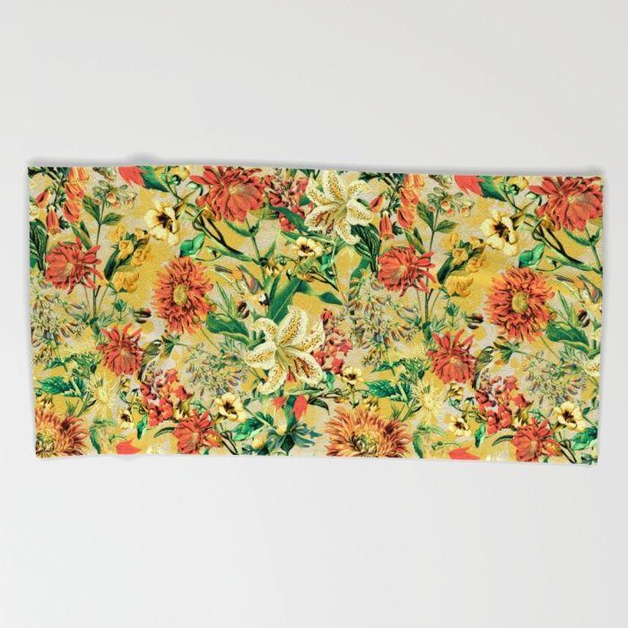SUMMER GARDEN Beach Towel #floral #botanical #summer #fashion