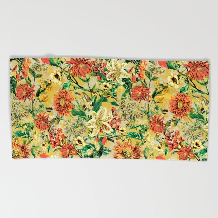 SUMMER GARDEN Beach Towel #floral #botanical #summer #fashion