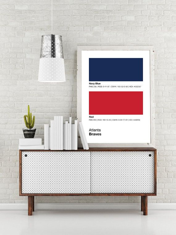 Atlanta Braves Pantone Poster MLB Man Cave Print By Sproutjam