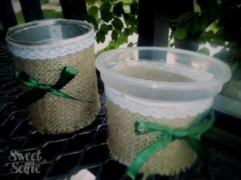 Latitas de arveja durazno etc para golosinero/ plantero forrado en tela arpillera