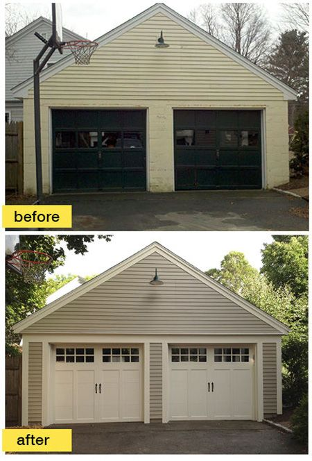 A Concord Carpenter Rob Robillard added much needed charm and character to this historic Boston-area garage with new #Clopay Coachman Collection steel carriage house #garage #doors. www.clopaydoor.com