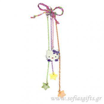 Κρεμαστό γούρι Hello Kitty μωβ με πολύχρωμα φίλντισι και πολύχρωμες αλυσίδες - Είδη σπιτιού και χειροποίητες δημιουργίες | Σοφία