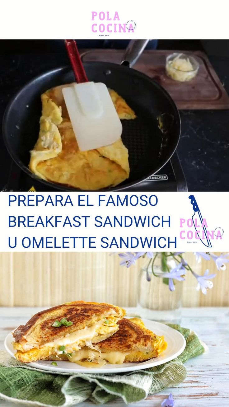 Sandwich y omelette en uno (video) French Omelette, Brunch Recipes, Mashed Potatoes, French Toast, Sandwiches, Yummy Food, Meat, Chicken, Breakfast And Brunch