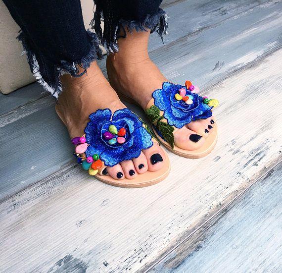 Greek sandals Zephra Boho sandals Embellished