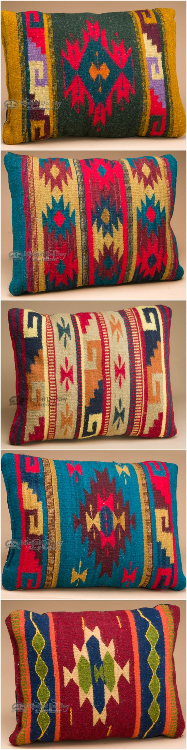 Add the beautiful colors and designs of the Southwest to your home decor with our beautiful southwestern pillows.  Classic Zapotec pillow designs are woven by hand on a loom in the same manner as Native American rugs. See our entire collection of Zapotec southwestern pillows at http://www.missiondelrey.com/southwest-zapotec-pillows-hand-woven/