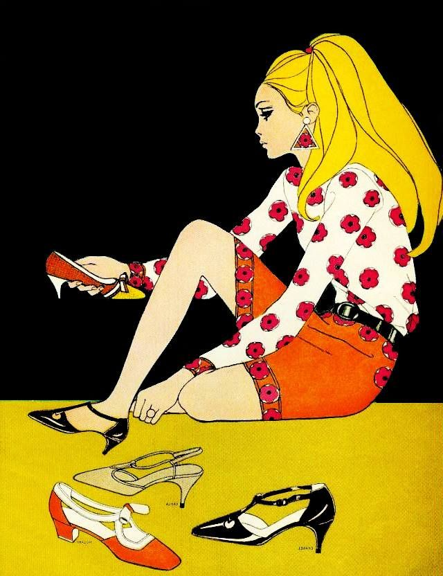 1965 Mademoiselle magazine fashion illustration