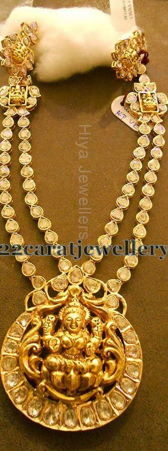 Jewellery Designs: Two Tone Pachhi Setting Necklace