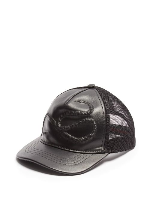 GUCCI Snake-embossed leather baseball cap. #gucci #cap