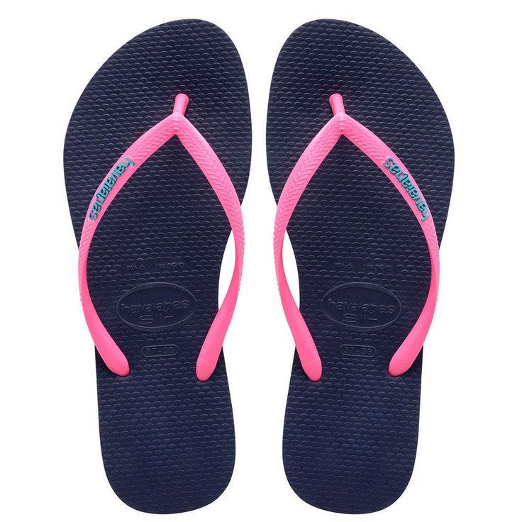 Havaianas Slim Logo Ladies Flipflops - Navy Blue Pink