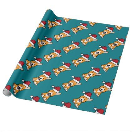 #Corgi dog puppy Pembroke Welsh Christmas Santa hat Wrapping Paper - #pembroke #welsh #corgi #puppy #dog #dogs #pet #pets #cute #pembrokewelshcorgi