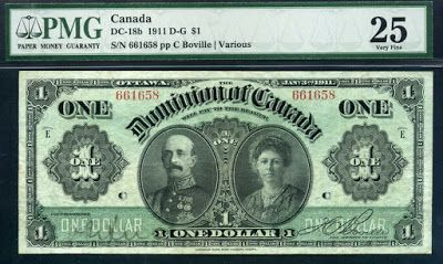 Dominion of Canada Currency Notes one Dollar bill of 1911, Earl and Countess of Grey.