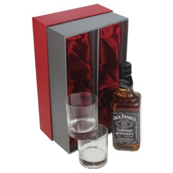 Jack Daniels Gift Set with Whisky Glasses in Red Box