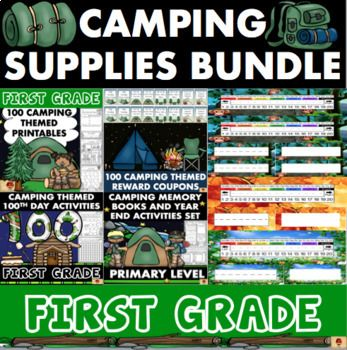 Grab all of my Camping Themed Products for your First Grade Class in this one easy bundle! Reward Coupons, 100 Standards Aligned Math/Reading/Language/and Writing Printables, 100th Day Activities, End of the Year Activities with Memory and Autograph Books, PLUS Desk and Labeling Tag Sets in three different Nature Designs are all included to help you teach your