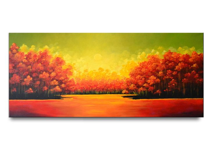 Original painting, bright abstract landscape painting, red orange trees art work, fine art, colorful wall decor  – Abstract Art
