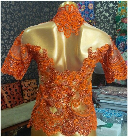 Orange lace kebaya-back