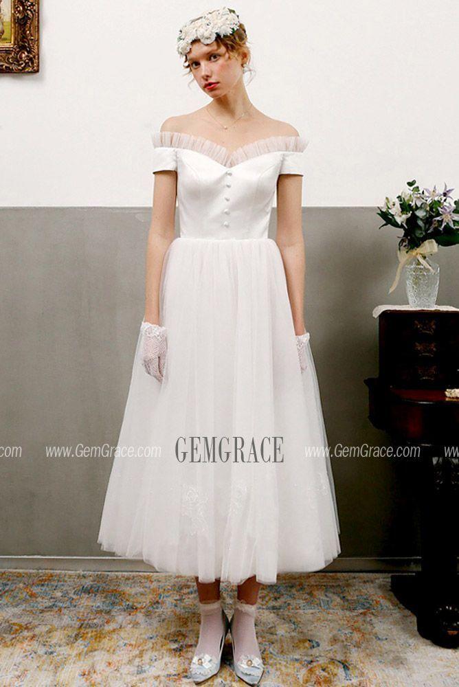 Vintage Short Wedding Dress Off-shoulder Tea Length White Bridal Gowns Custom