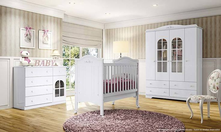 Quarto de Bebê Complento com Guarda-roupa 4 Portas e 4 Gavetas, Berço e Cômoda 1 Porta e 5 Gavetas Provençal Branco - Henn | Lojas KD