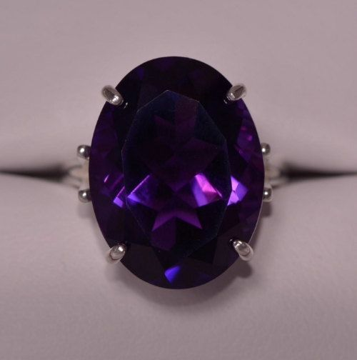 Amethyst Ring 13.16 Carat Solitaire Statement by SilverJewelery