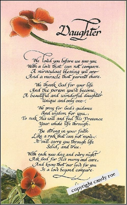 Daughter Poems From Parents from both parents a gift for parents to ...