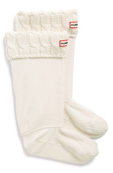 Hunter Original Tall Cable Knit Cuff Welly Socks (Women) | Nordstrom  - Medium - Natural White