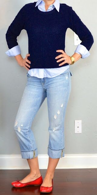 navy knit sweater, blue button down oxford shirt, cropped light denim pants, red flats - I'd do this with a darker pant.