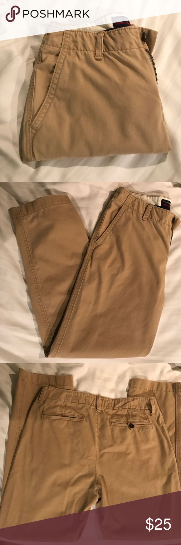 AE Men's Khaki Pants These American eagle khaki pants are in excellent condition (NWOT) and are great for any man looking to dress it up! These pants are original straight fit, 32x20, and 100% cotton. American Eagle Outfitters Pants Chinos & Khakis