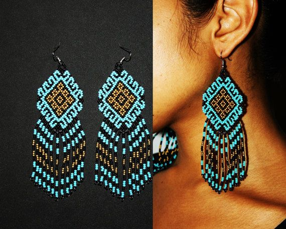 Turquoise Gold Aztec Earrings Traditional от BiuluArtisanBoutique