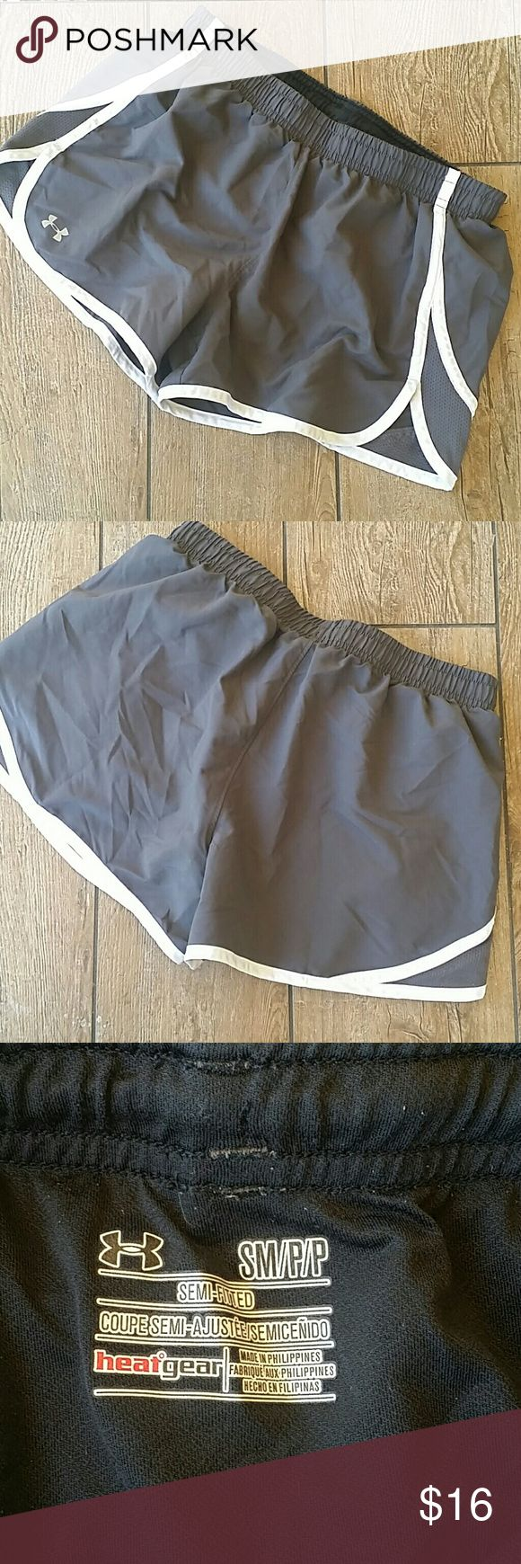 "🔮UNDER ARMOUR GRAY SHORTS🔮 Smoke gray and white shorts Elastic and drawstring waist Built in black brief 2.5"" inseam No rips, stains or pilling Smoke free home Under Armour Shorts"