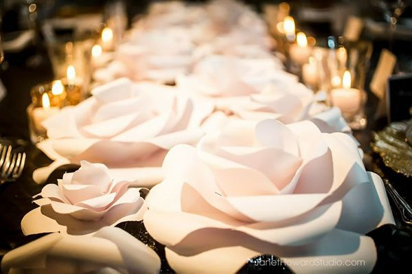 Chanel Inspired Paper Flower Table Runner | Janet Howard Photography | See More: http://heyweddinglady.com/love-bloom-gorgeous-paper-flower-ideas-wedding/