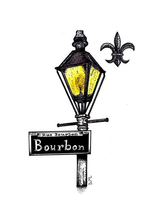 5x7 New Orleans French Quarter Bourbon Street by WendyMcCullaInk