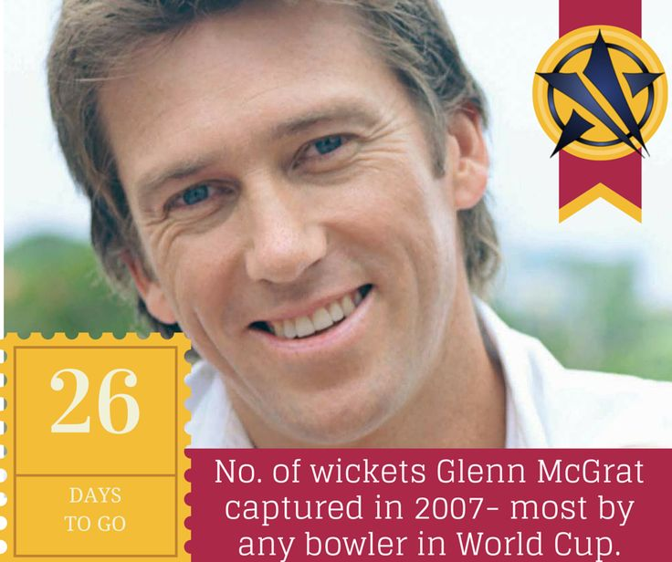 26 DAYS UNTILL #cwc15, the no. of #wickets Glenn McGrath took at 13.73 #runs apiece in eleven #matches in 2007 in Carribbean. The most by any #bowler in a #WorldCup. The second place is shared by 3 #bowlers with 23 wickets each- Chaminda Vaas(2003), Muttiah Muralitharan(2007) & Shaun Tait(2007)